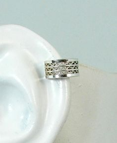POST Conch Pierced Cartilage Helix Earring Solid Sterling Silver Wide Lattice Gallery Wire MCG3SSP