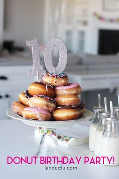 An easy way to put on a birthday party. Stack up some donuts to make an adorable donut cake and print out some donut decor. Super fun and easy! Dessert Table Birthday, 4th Birthday Cakes, Donut Birthday Parties, Birthday Breakfast, Donut Party, 10th Birthday, Birthday Ideas, Birthday Stuff, Dessert Tables