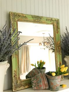 Bathroom Mirror Gold large nursery mirror, blue and white mirror, shabby chic home