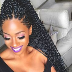 Long Box Braids: 67 Hairstyles To Upgrade Your Box Braids - Hairstyles Trends Box Braids Hairstyles, African Hairstyles, Protective Hairstyles, Protective Styles, Senegalese Twist Hairstyles, Dance Hairstyles, Hairstyles Videos, Hairstyles 2016, Hairdos