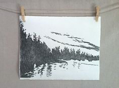 Northern Lake  Hand Printed  Linocut by WoodenSpoonEditions, $35.00
