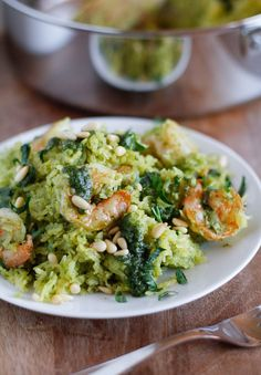 Spaghetti Squash with Basil-Parsley Pesto and Sauteed Shrimp