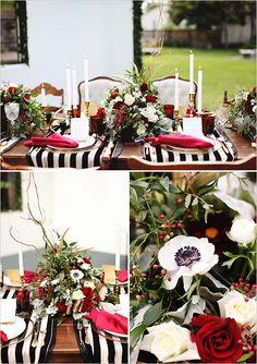 Black, white and red wedding decor ideas.