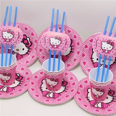 80597ed96 36pc Hello Kitty Cartoon Party Set Tableware Paper Cup Plate Straw 12 Girl Kid  Birthday Party/Baby Shower Decoration Supplies //Price: $17.80 & FREE ...