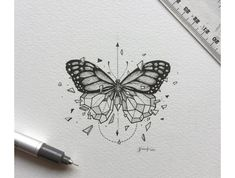 inspirational butterfly tattoo drawings, geometric tattoos, butterfly tattoo ideas for inspiration A Kunst Tattoos, Tattoo Drawings, Body Art Tattoos, New Tattoos, Art Drawings, Tatoos, Tattoo Sketches, Xoil Tattoos, Forearm Tattoos