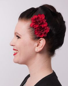 Double Red Flowers $3.95  Available in Red, Purple & Peach  http://www.mypinupcreations.com/hair-flowers.html