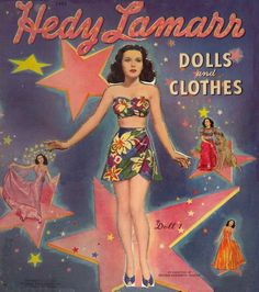 Hedy Lamarr Paper Dolls & Clothes Complete 1942 by CuriousBookShop Disney Collectibles, Vintage Paper Dolls, Vintage Toys, Hedy Lamarr, Mattel, Barbie, Best Memories, Childhood Memories, Classic Hollywood