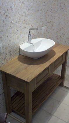 Solid Teak Vanity with Handrubbed Oil Finish 1 by - Wall Woodworks Co (link includes notes on custom building)