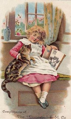 Victorian Trade Card Domestic Sewing Machine Girl with Cat 1880 90