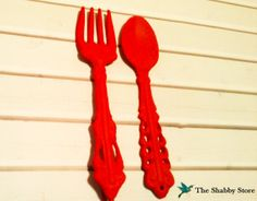Cast Iron Kichen and Fork / Red Kitchen Decor / by TheShabbyStore, $18.00