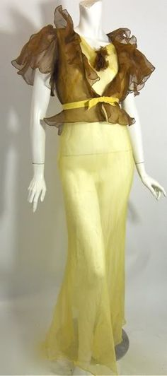1930s buttercup yellow voile gown  with ruffled sheer cocoa jacket. DCV
