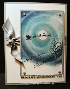 Holiday Home, White Christmas, Endless Wishes and Gorgeous Grunge stamp sets. Use Circle Framelits with ink and sponges to create the circular aurora borealis look.