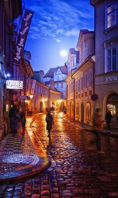 Moonlit city streets in Prague ~ Czech Republic