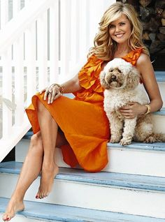 Me and my pooch: Christie and her dog Maple Sugar at home in the Hamptons last year