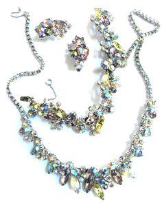 Vintage Parures @ Ruby Lane - Breathtaking Weiss Pastel Vintage Parure 1950s Necklace, Bracelet & Earrings