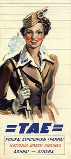 TAE Greek National Airlines - ΤΑΕ (Εθνικαί Αεροπορικαί Γραμμαί) 1952 Retro Ads, Vintage Advertisements, Vintage Ads, Bistro Design, Greece History, Vintage Travel Posters, Poster Vintage, National Airlines, Poster Ads
