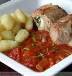 Szűzpecsenye olaszosan Hungarian Recipes, Hungarian Food, Meat Recipes, Sausage, Tasty, Favorite Recipes, Chicken, Ethnic Recipes, Mint