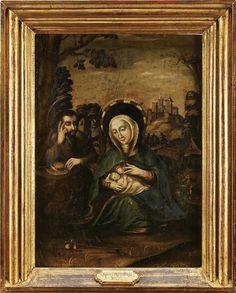 Nossa Senhora do Leite - Fuga para o Egipto, escola portuguesa séc. XVII (1ª metade). Cabral Moncada Leilões