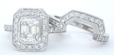 Emerald cut diamond engagement ring and band set 2.00ctw