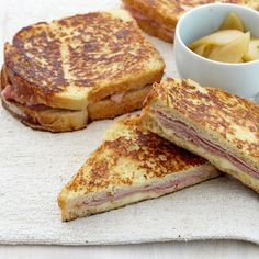 Ham and Gruyère French Toast Sandwiches | Dive into the delectable sandwich with a fork and knife or pick it up with your hands, providing there are plenty of napkins close by. Chef Jesse Cool likes to tuck the maple apples in with the ham and cheese, but the fruit can be served on the side, along with a spicy mustard or horseradish sauce.