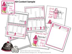Bunco-tini Bunco kit!  Shake, Ring & Roll!  Bunco score cards, decorations and more that you print at home. Art © Tara Reed Designs