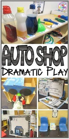 Auto Shop Dramatic Play - Pocket of Preschool - Dramatic Play - Auto Shop! How to change your dramatic play center an Auto Shop in your preschool, pre-k, and kinde - Dramatic Play Themes, Dramatic Play Area, Dramatic Play Centers, Preschool Dramatic Play, Preschool Centers, Preschool Themes, Preschool Learning, Kindergarten Classroom, Preschool Quotes
