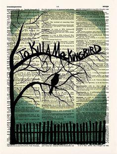 To kill a Mockingbird Book Cover Print Book Cover by demeraki