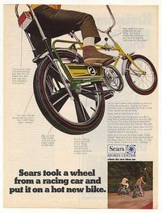"""Original vintage magazine ad for the Sears Screamer 2 """"Mag Wheel"""" Bicycle. Tagline or sample ad copy: Sears took a wheel from a racing car and put it on a hot new bike. Publication Year: 1969 Approximate Ad Size (in inches): 10 x Condition: VG Cool Bicycles, Cool Bikes, Vintage Advertisements, Vintage Ads, Vintage Stuff, Banana Seat Bike, Raleigh Chopper, Bicycle Print, Bmx Bicycle"""