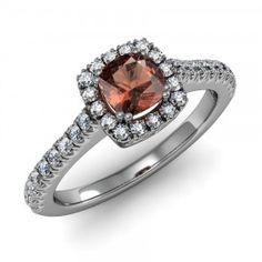 Cushion Garnet & Diamond Halo Ring set in 18K White Gold. (5x5mm) $830.00