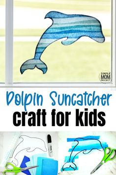 Print your free dolphin template and give your windows a fun, stained glass effect with this easy, diy spring and summer dolphin suncatcher craft. This dolphin craft is great for kids of all ages including preschoolers, toddlers, kindergartners and even adults! #suncatcher #suncatchercrafts #dolphincrafts #dolpinsuncatchercraft Sea Creatures Crafts, Sea Animal Crafts, Animal Crafts For Kids, Crafts For Kids To Make, Kids Crafts, Rainy Day Activities, Summer Activities For Kids, Preschool Activities, Sun Crafts