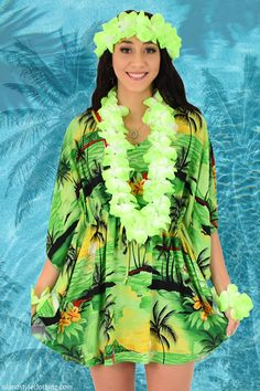 Pretty Ladies Green Sunset Kaftan Luau Party Dress with Lei Set. Perfect for a cruise or luau party it's a soft beach cover up. Throw this delightful kaftan over your bikinis or jeans for a day at the beach, cruising or casual wear. Lots of colours and patterns to choose from. #poncho #kaftan #bikini #beachcoverup #caftan #hibiscusparty #luau #luauparty #coverup #beachwear #cruise #cruisewear #luau #luauparty #luaupartycostume #fancydress #luaudress #hawaiiancostume