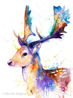 Watercolor Paintings Of Animals, Watercolor Deer, Animal Paintings, Original Paintings, Hirsch Illustration, Deer Illustration, Deer Drawing Easy, Artist Painting, Painting Prints