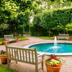 Pool with benches and clipped hedge maples-a serene place to hear the birds and splashing water.