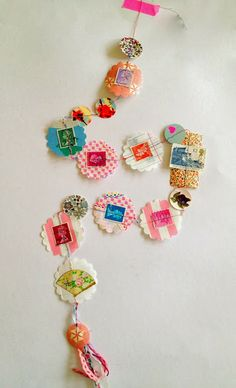 DIY paper garland idea: paper string, stamps, garland - cute idea for kids crafting