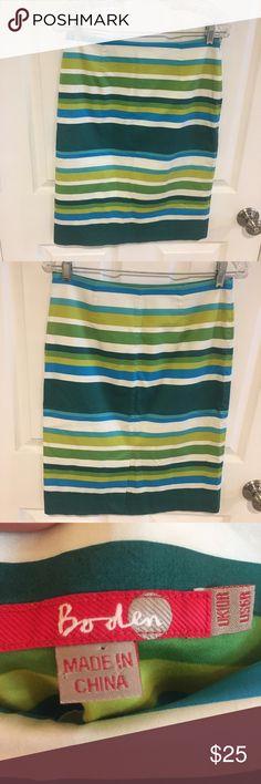 Boden Green Striped Pencil Skirt Super cute and fun green striped skirt by Boden. Size 6 perfect for work! Boden Skirts Pencil