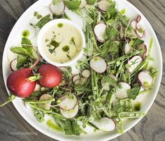 A perfect summertime refreshing salad, so easy to make.  Fresh, Crunchy, tangy, raw and full of nutrition, you can't go wrong with this one!  I love snap peas, but usually eat them steamed or sauteed. In this salad raw snap peas are slightly sweet providing an excellent balance to radishes.