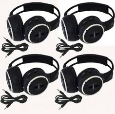 """Four Pack of Two Channel Folding Adjustable Universal Rear Entertainment System Infrared Headphones With 4 Additional 48"""" 3.5mm Auxiliary Cords Wireless IR DVD Player Head Phones for in Car TV Video Audio Listening by Melodeez. $89.99. You will receive 4 wireless Infrared headphones Plus Four 48"""" 3.5mm Double male Auxiliary cords. Enjoy music, movies and more! Automotive Grade IR Headphones: Will work on any vehicle that uses infrared headphones. No programming requir..."""