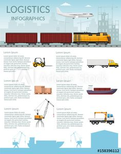 Logistics infographic elements and transportation concept vector web banners of train, cargo ship, Air export cargo trucking Freight Storage of goods Split Level Exterior, Exhaust Gas Recirculation, Train, Banner Design, Transport Logistics, Transportation, Web Banners, Stock Photos, Marketing