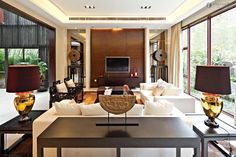 Modern Wall Decor | ... modern Chinese style Villa TV background wall decoration | Living Room