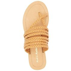 Mark & Maddux Braided Strappy Sandals ($20) ❤ liked on Polyvore featuring shoes, sandals, tan, boho sandals, strap sandals, monk-strap shoes, strappy shoes and flat shoes