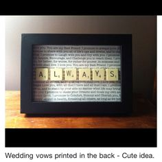 To preserve your vows & to remind you of why you said I Do through the good and bad times.