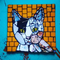 Cat, 20x20 cm  #mosaic #piqueassiette #cat #ngmozaik Mosaic Art, Mosaic Tiles, Mosaic Animals, Mosaic Designs, Textured Walls, Stained Glass, Spiderman, Contemporary Art, Dog Cat