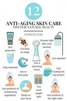 Anti Aging Tips Natural Look Infographic | More isn't always better when it comes to your anti-aging skin care routine. In fact, being too aggressive with your skin can make you more susceptible to wrinkles. Here are 12 tips and tricks that will slow down the aging process from the #PureFiji blog | Natural Skin Care Products for Natural Beauty using Coconut Oil #EyelinerTricks