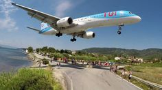 """I have never seen a Boeing 757 using the """"reverse gear"""" before. The 757 was still too fast and tried to vacate the runway via the nearest taxiway but the pil. Skiathos, British Boys, Aircraft, Metre, Suddenly, News, Planes, Aviation, Greece"""