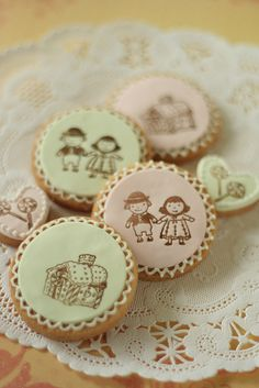 stamped cookies   on rolled sugar paste with rubber stamp