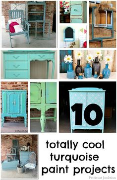I love these10 totally cool turquoise paint projects by Kathy of Petticoat Junktion