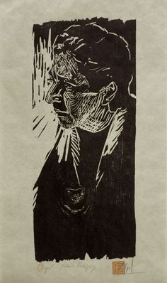 Woodcut portrait of Richard Rodriguez(II) by German born printmaker Dirk Hagner