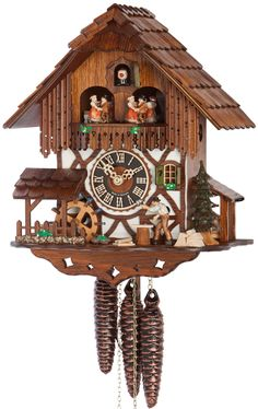 Add a touch of natural elegance to your home with this chalet cuckoo clock. 1 Day Regula Movement inches) Cuckoo on Every Hour & Every Hour Moving Dancers and Water Wheel Features Moving Clock Peddler Dual-Tune 22 Note Romance Music Box What Is A Chalet, Coo Coo Clock, Black Forest Germany, Wood Mill, Chalet Style, Thing 1, Forest House, Hand Carved, Deer