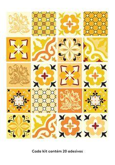 Adesivo para azulejo: azulejo Hidráulico amarelo