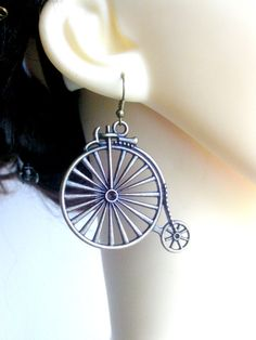 Bronze Penny Farthing Bike Drop Earrings Steampunk by TattooedRoZe